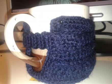вязанный чехол для чашки, крючок