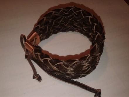 шкіряний плетений браслет