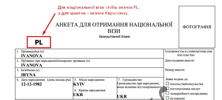 візова анкета для польської візи