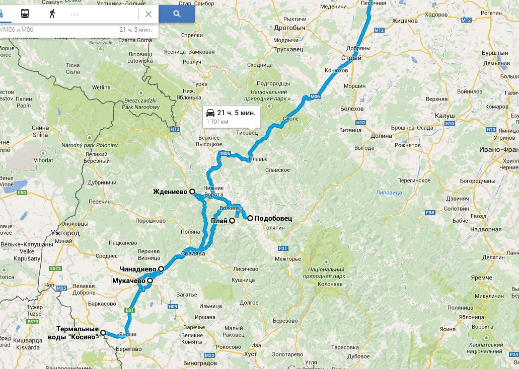Маршрут подорожі на мапі Google
